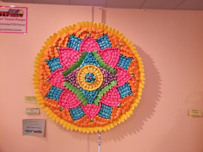 Peepflower. Looks more like a Peep mandala to me, but it's colorful! :0)